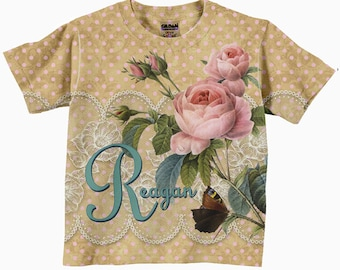 Girls Floral Shirt, Personalized Girl's Shirt, Pink Rose Floral T-shirt, Girls Clothing