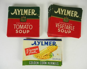 Large Lot Vintage AYLMER Tomato and Vegetable Soup Labels Hamilton, Canada