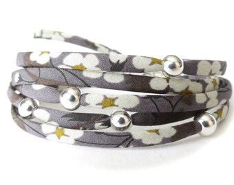 Wrap bracelet with Liberty fabric in slate grey florals with 5x Sterling silver beads, UK gift for best friend, charcoal grey fabric wrap