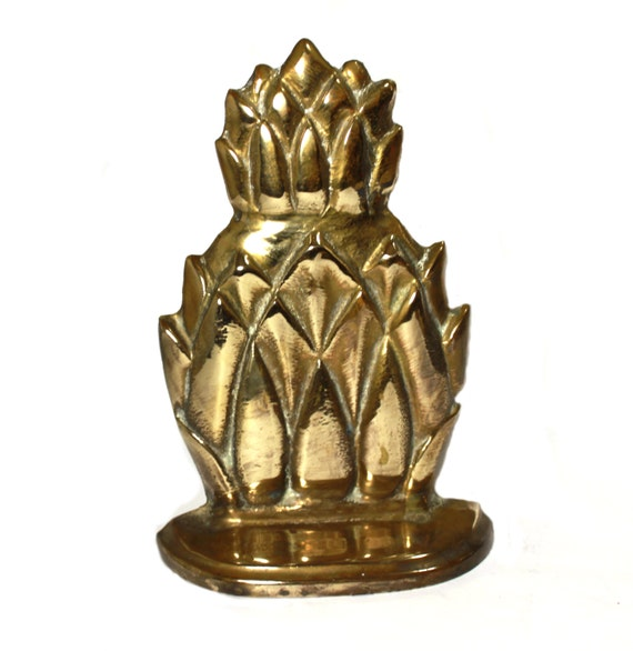 Brass Pineapple Bookend- great Hollywood Regency style