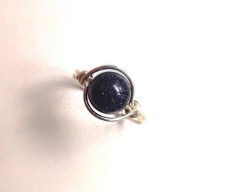 Blue Goldstone and Silver Ring - Wire Wrapped - Made to Order - Midnight Starry Ring - Celestial Ring