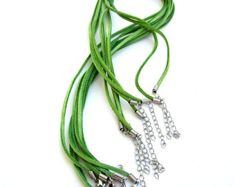 Leather Chain Cord Necklace Jewelry Making Supplies Lime Green