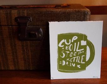 Tea Time Instructions - Hand Pulled Screen Print, Original Illustration