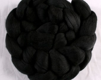 Hand dyed NZ Merino combed wool roving (tops) for spinning or felting - semi-solid - 100gr Slate