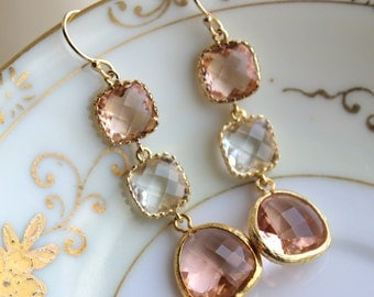 Blush Champagne Crystal Earrings Gold Three Tiered Jewelry - Pink Bridesmaid Earrings -  Peach Wedding Earrings Crystal Pink Wedding Jewelry