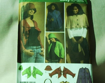 Uncut Simplicity Pattern 4428 Misses Jacket, Cape in Two Lengths, Hat and Bag   Size 6-8 XS, 10-12 S,  14-16 Med, 18-20 Lge, 22-24  X-Large