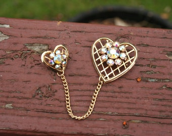 Brooch Pin Two Hearts Gold Rhinestone