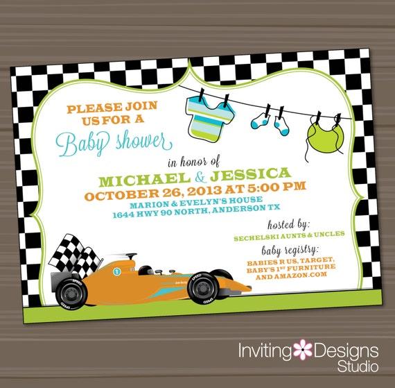 items similar to race car baby shower invitation blue teal orange