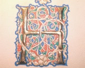 For Sandra Illuminated letters H and M on parchment  - gold leaf and egg tempera -