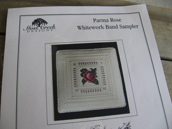 Parma rose whitework band sampler kit moss creek designs