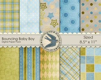 "8.5"" x 11"" - Digital Scrapbook Paper Pack Instant Download - Bouncing Baby Boy -10 digital Papers for Baby Boy, Toddler, Cards, Scrapbooks"