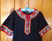 RESERVED - 60's long black tunic dress size xs