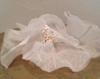Flower Pin White Vintage Fabric