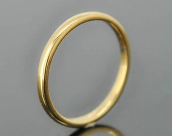 14K yellow gold ring, 1mm x 1mm, wedding band, wedding ring, half round, mens wedding ring, mens wedding band, size up to 9