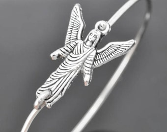Angel Bangle,  Sterling Silver Bangle, Angel Bracelet,  Angel Jewelry, Sterling Silver Bracelet, Stacking Bangle, archangel , Gabriel