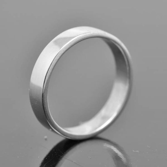 14k palladium white gold ring 4mm x 1mm flat wedding band