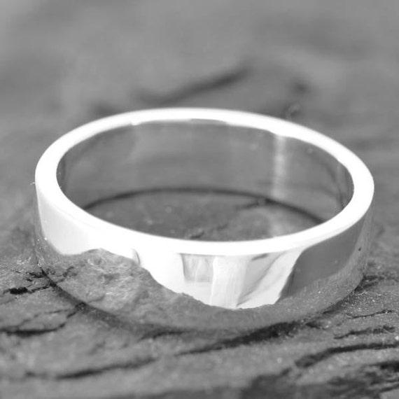 18k palladium white gold ring 4mm x 1mm flat wedding band