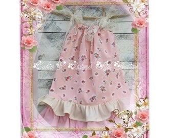 Beautiful vintage shabby chic pink ruffled dress for birthdays, weddings, flower girls,Easter, photo prop ,photography