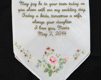 Mother of the Bride Custom Embroidered Wedding Handkerchief