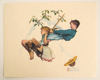Vintage 1970's Norman Rockwell Flying High Young Love Series Print 1