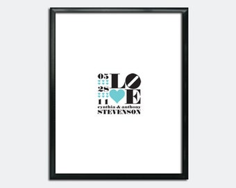 Wedding Guest Book Poster PDF - LOVE and Hearts - Personalized Printable