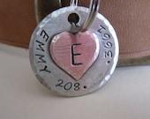 Dog Tag - Pet ID Tag - Copper Heart on Nickel Silver Dog Tag