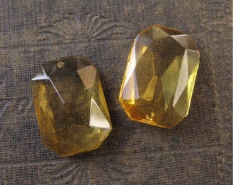 Topaz Faceted Octagon Pendant Drops Czech Glass 25mm New Chandelier Style (2)