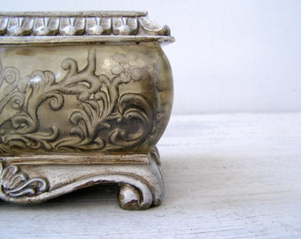 Art Nouveau Planter, Metal Like Pot Planter, Vanity Desk Organizer Trinket Box, Victorian Style Storage Bowl Ornate, Vtg Table Centerpiece