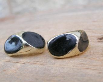Mid century Golden black Enamel clip oval Earrings, Mad men Inspired, Classic 60s jewelry, Statement earrings, retro modern Mod jewelry
