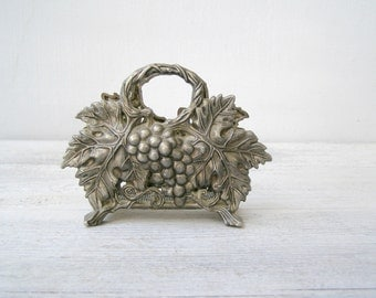 Art Noveau vine Napkin or Letter Holder, Shabby cottage chic woodland Silver Tableware, Dining room collectible, Hostess gift, Vanity Table