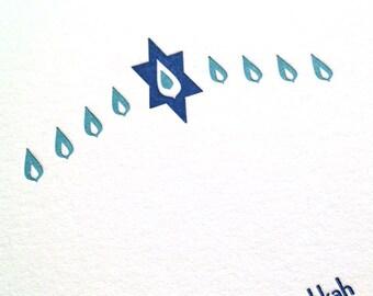 Letterpress Hanukkah Card - Blue Menorah