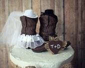 cowboy boots-cowgirl boots-wedding cake topper-western wedding-country western-rustic wedding cake topper-rustic wedding