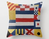 Nautical Flags International Code Signals Throw Pillows Beach House Boat Decor YOU CHOOSE Center Letter