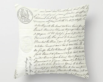 French Script Letter Timbre Royal Shabby Chic Antique Finish Throw Pillow Home Decor