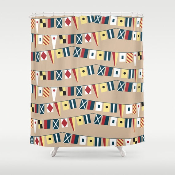 Shower Curtain Nautical Signaling Flags 12 Eyelet Button
