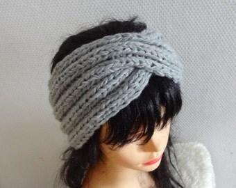 Turban headband  taupe winter turban ear warmer knit accessories, twisted headband Chunky Knit Turban Headband , Ear warmer Turban Design
