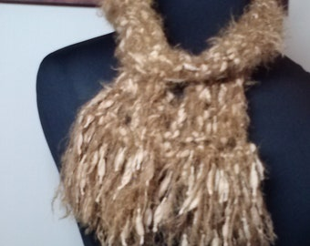 Fuzzy Tan and Light Brown Nubby Yarn Scarf with Fringe