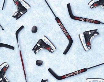 Ice Hockey Sticks and Skates From Robert Kaufman Fabrics
