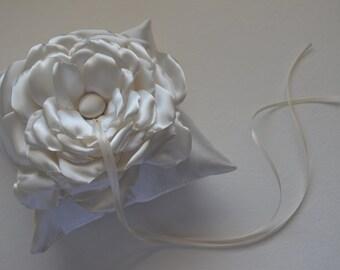 Wedding Pillow - Cream - 6x6 inch - Ring Bearer Pillow - Simple Flower Pillow, Single Flower Pillow, White Pillow, Ivory, Off White