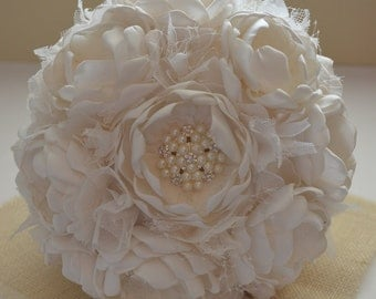 Fabric Bouquet - Extra Large Size -Pure Cream Bouquet - Fabric Flower Bouquet, Fabric Bouquet, Heirloom Bouquet, Keepsake Bouquet