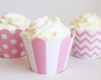 Light Pink Cupcake Wrappers Polka Dot Stripe Chevron Baby Pink Cupcake Liners Girl Baby Shower Bubblegum Pink Party Supplies / Set of 12
