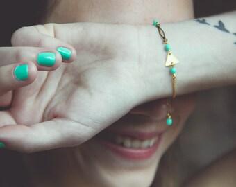 geometric bracelet, triangle bracelet, mint bracelet, triangle jewelry, mint and gold jewelry, geometric jewelry, pastel jewelry