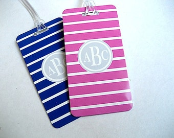 Luggage Tag - His and Hers Luggage Tags-  Custom Mr and Mrs Luggage Tag Set - Hot Pink - Navy Blue -  Personalized Luggage Tag