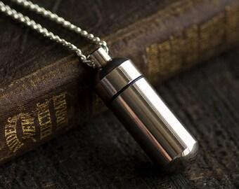 Secret Capsule Necklace - Poison Pill Box - Metal Bottle - Silver Metal Bottle
