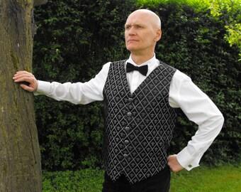 "Legendary Edwardian Steampunk Fluer Di Lis Brocade Wedding Waistcoat / Vest - 42"" Chest - Silver / Black"