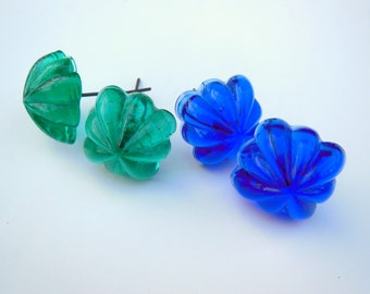 Two Pair of Vintage Floral Glass Curtain Tie Backs