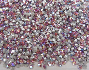 50 pcs Swarovski Crystal Rhinestones Pointed Back Chatons Rose AB 27pp or 30pp