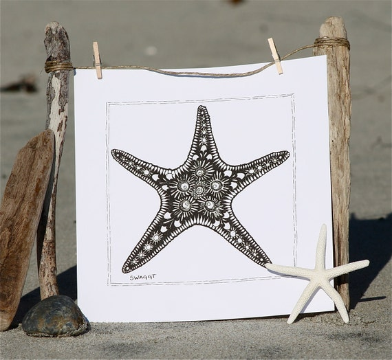 Print of Black and White Starfish Pen and Ink drawing