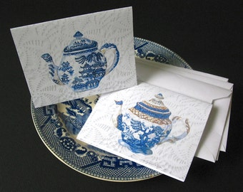 Blue Willow Teapots Notecards Blank Set of 4