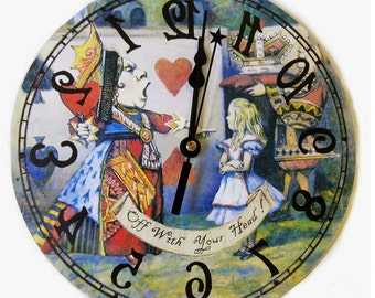 Queen of Hearts Alice in Wonderland  Backwards clock